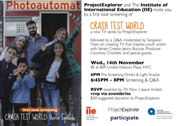 Flyer for Crash Test World Screening at IIE NY Office 2018