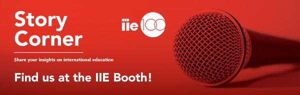 Image of microphone with red overlay with wording: Story Corner, Share your insights on international education, find us at the IIE booth, schedule your story at calendly.com/storycorner