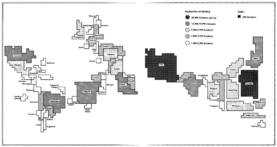 Cartogram from early 1980s