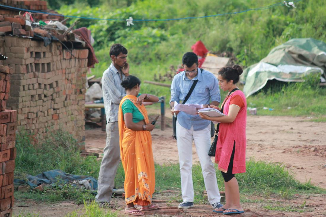 Image: Northwestern student researchers studying the effect of community health worker systems to reduce the prevalence of anemia in the Indian village of Charnia, Haryana.