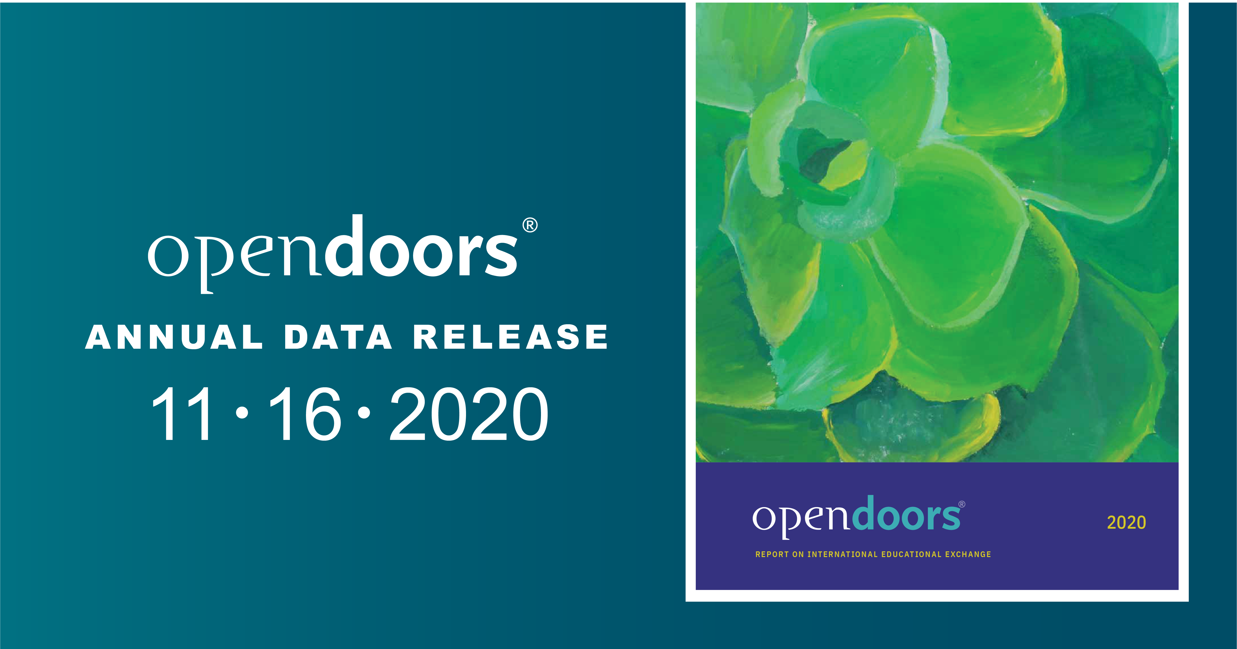 Open Doors logo, text reading Annual Data Release, 11-16-2020 next to image of the cover of the Open Doors Report for 2020