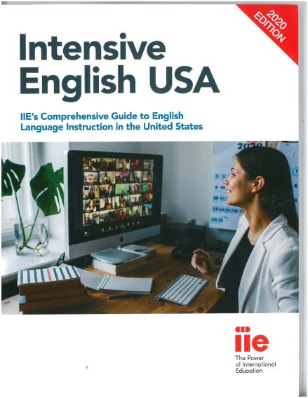 Intensive English 2020 book cover, woman looks at computer screen