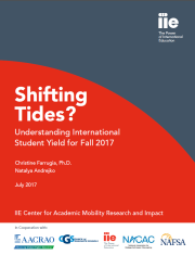 Report Cover: Shifting Tides: Understanding International Student Yield for fall 2017