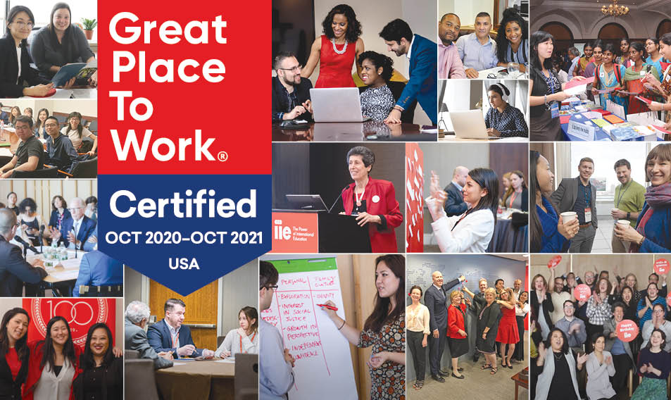 Photo mosaic of employees and leadership working and smiling, with Great Place to Work® badge laid over top.