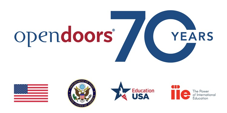 5 logos: Open Doors 70th Anniversary, US Flag, U.S. Department of State Seal, Education USA logo, IIE logo