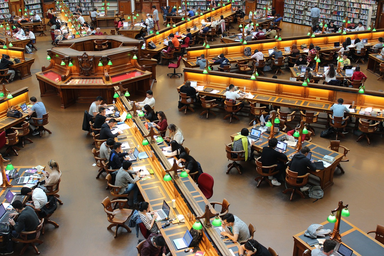 Students studying in a university library