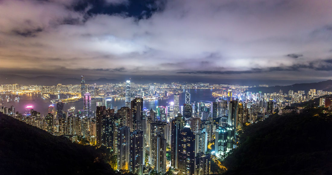 Hong Kong city scape at night
