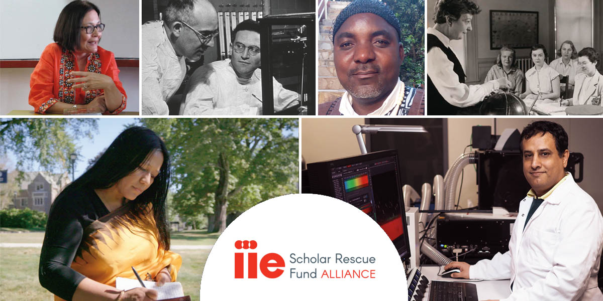 Image collage with photos of scholars supported by IIE's Scholar Rescue Fund, announcing the IIE-SRF Alliance