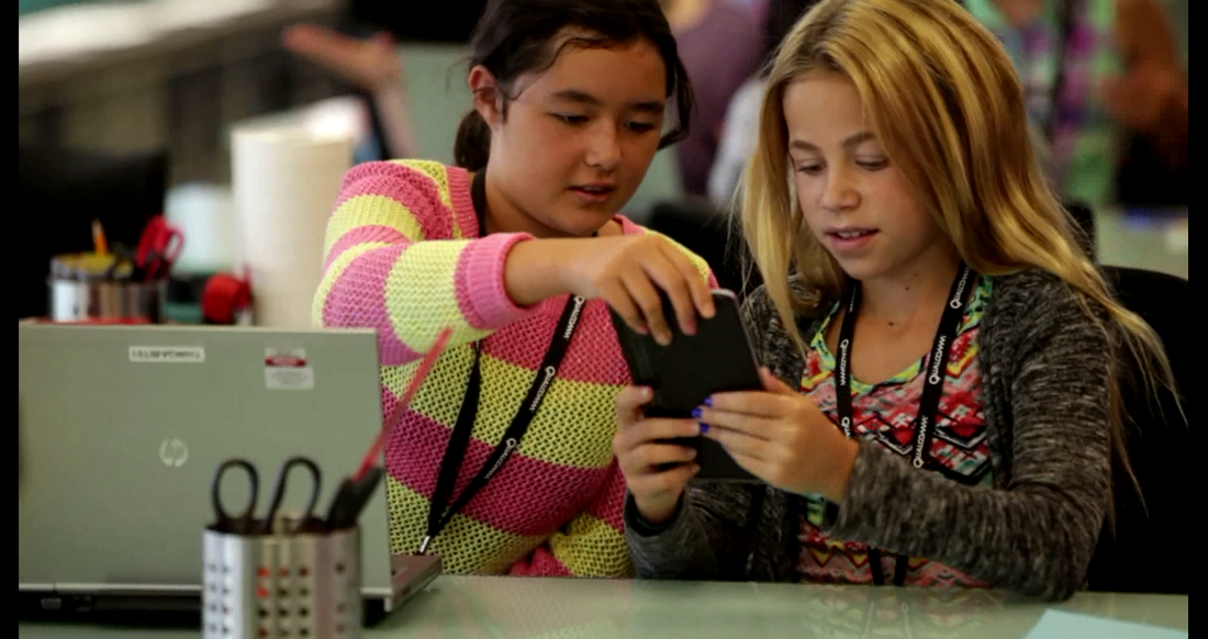Photo: Two young girls participating in WeTech and Qualcomm's QCamp