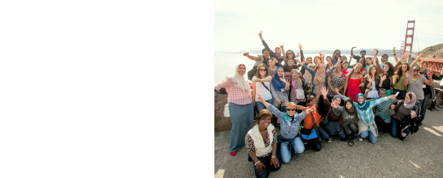 TechWomen cohort poses in front of Golden Gate Bridge